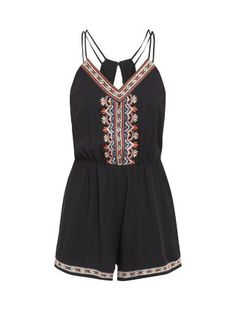 It's the bright tribal stitching that sets this Black Embroidered Playsuit apart. #newlook #fashion romper playsuit #romper