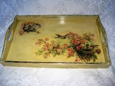 This beautiful country style serving tray looks vintage, so as a kitchen decor will be an exquisite addition to your house. Food safe- for bread, cookies, fruits etc. * Made in the paper napkin decoupage technique * Artificially made look older * Covered with several layers of decoupage varnish for durability * Measures: approximately 44 x 27 cm * Can be wiped with a wet cloth if needed and left to dry