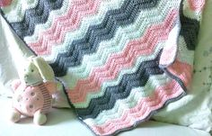 Crochet blanket to chevron white-gray-Pink for by LovelyMadeByNina