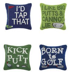 Decorative Hook Pillows for Golf Lovers by Peking Handicraft Decorative Hooks, Putt Putt, Handicraft, Golf, Lovers, Throw Pillows, Gifts, Diy Artwork, Toss Pillows