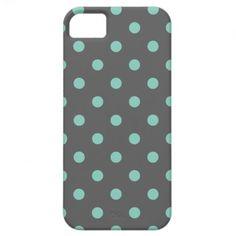 Charcoal Gray & Aqua Cute Modern Polka Dots iPhone 5 Case