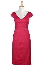 Scallop trim cotton sateen sheath dress