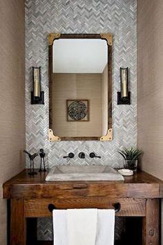 Vintage Ideas Reclaimed Barn Wood Vanity For Gabriele Pizzale Design! Bathroom Mirror Design, Diy Bathroom, Small Bathroom, Bathroom Remodeling, Remodeling Ideas, Bathroom Pink, Bathroom Vanities, Bathroom Ideas, Bathroom Hardware