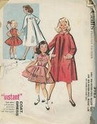 An original ca. 1956 McCall's Pattern 3983.   Girls' One-pattern-piece Instant Dress and One-pattern-piece, Instant Coat - Not suitable for chubby girls.
