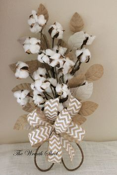 Cotton Anniversary Bouquet, 2nd Wedding Anniversary Gift, Natural Cotton Bolls, Cotton Arrangement, Bridal Bouquet, Wedding Decor, Burlap