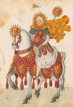 """demonagerie: """" Bayerische Staatsbibliothek, - BSB Cod.icon. 340, f. 33r. Beschreibung der historischen und allegorischen Personen der acht Inventionen zum Ringelrennen in den Aufzügen gehalten 1596..."""