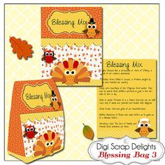 Thanksgiving Blessing Mix Printable Gift Bag by DigiScrapDelights