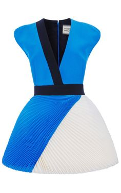 Two-Tone Cady V-Neck Dress With Plisse Skirt by Fausto Puglisi for Preorder on Moda Operandi on Wanelo