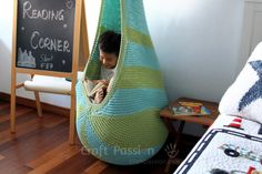 Knitting Patterns Cocoon Knitted Hanging Chair Free Pattern Perfect For Reading Nook Knitting Patterns Free, Free Knitting, Free Pattern, Crochet Patterns, Crochet Ideas, Blanket Patterns, Knitting Designs, Quilt Pattern, Crochet Home