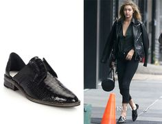 Gigi Hadid's  Freda Salvador Wear Laceless Croc-Embossed Leather Oxfords