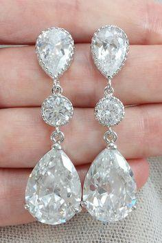 Cubic Zirconia Bridal Chandelier Earrings with Pear Dangles ...