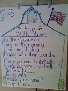 """Sing to rhe tune of """"Alouette"""".  Teacher states and shows a traget sound. Kindergartners say their altered name at the end of the song.  Begin again with a new sound!  I do this at the beginning of every year.  So fun! Lesson taken from Phonemic Awareness Fall Songs and Rhymes by Kimberly Jordano and Trisha Callella Creatve Teaching Press Rhymes For Kindergarten, School Rhymes, Kindergarten First Week, First Year Teaching, School Songs, Kindergarten Literacy, Teaching Reading, Literacy Centers, Classroom Helpers"""