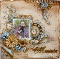 Scrapbook Page & Video Tutorial by Gabrielle Pollacco made for The Scrapbook Diaries Kit (unlimited access to video tutorial with kit purchase)...using Maja Design papers and kit embellishments/mixed media products.