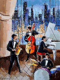 Artist: Michael Rozenvain Music Artwork, Art Music, Music Artists, Jazz Painting, Figure Painting, Jazz Poster, Jazz Art, Black Love Art, City Scene