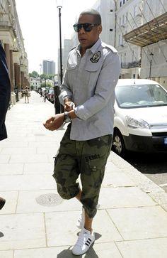 Jay+Z-Balmain-Military-Shirt-G-Star-camo-surf-shorts-Adidas-sneakers-4