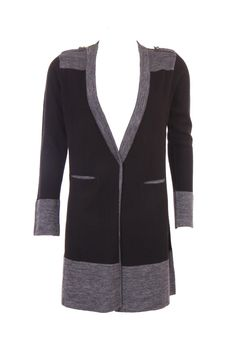 """""""Colour Blocked Cardigan In Grey And Black Colour In Acro Wool; Buttons On The Shoulder And Front Pockets; 33.5 """""""" Inches N Length"""" Outer Wear #Clothing #Fashion #Style #Wear #Colors #Apparel #SemiFormal #Casuals #W for #Woman"""