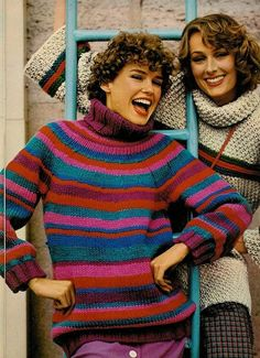 1970s knit sweater fashions.