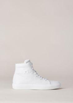 Acne Studios Adrian High Face Grain Sneaker (White)