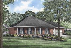 Southern Style House Plans - 1746 Square Foot Home , 1 Story, 3 Bedroom and 2 Bath, 2 Garage Stalls by Monster House Plans - Plan 12-248