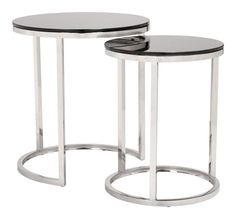 Rem Coffee Table Set in Black Tempered Glass on Stainless Steel Base