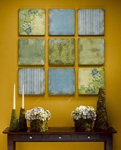 Live this idea. Love the colors too. Inexpensive wall art with small multiple frames. All done differently.