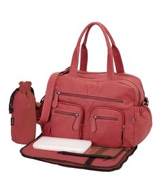 This OiOi Pink Faux Buffalo Diaper Bag by OiOi is perfect! #zulilyfinds