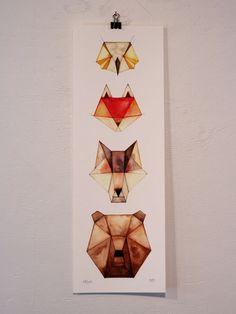 Animaux géométriques  chouette renard loup par CatherineLazarOdell