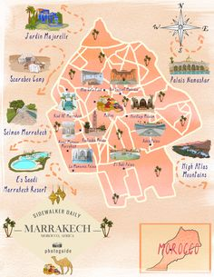 The 40 Best Places To Take Pictures In Marrakech - Sidewalker Daily : marrakech-morocco-map Discover the 40 best places to take pictures in Marrakech and explore the famous city like a local, one photo-opp at a time. Maps and coordinates included! Marrakech Travel, Marrakech Morocco, Morocco Travel, Africa Travel, Vietnam Travel, Africa Destinations, Top Travel Destinations, Morocco Map, Morocco Itinerary