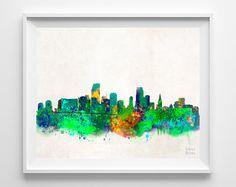 Miami Skyline Watercolor Print
