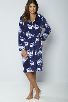 48651e8128 Adore Floral Hooded Supersoft Robe Navy Size L UK 16 18 rrp 35 DH083 MM
