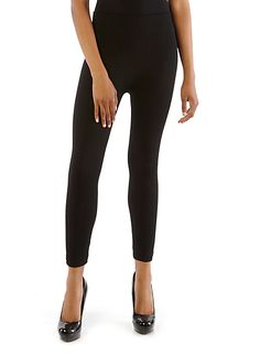 Diagonal Pointelle Fleece-Lined Leggings