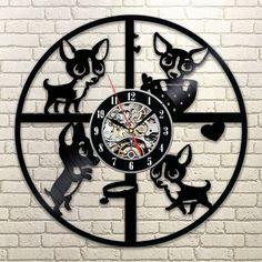Custom Chihuahua Vinyl Wall Clock Cute Friend Dog House Pet Puppy Animal Wall Decor Vinyl Record Clock can with Your Dog's Name Vinyl Record Clock, Record Wall, Vinyl Records, Lp Vinyl, Wall Clock Digital, Minimalist Clocks, Wall Clock Gift, Wall Clocks, How To Make Wall Clock