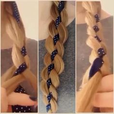 4 strand braid with ribbon in