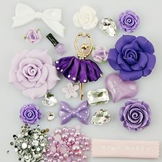 Mini kitty- xmas gift ,merry christmas Bling Purple rose flower love heart bow bowknot ballet dancer girl Res Deco Kit / Set (Not a Finished Product) Can Fit for iphone 4 4S ,iphone 5 5c 5G,for iphone 6 iphone 6 plus for samsung note 4 samsung s5 mini s5 i9600 for samsung galaxy s3 i9300 ,for samsung galaxy s4 i9500 for sony/htc/nokia/google etc