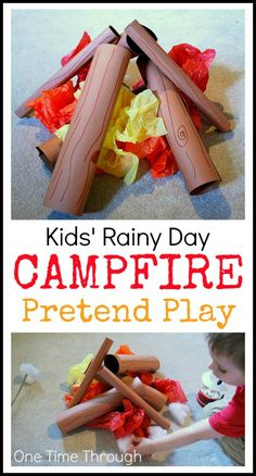 Rainy Day Campfire Pretend Play - One Time Through Kids 'Rainy Day Campfire Pretend Play - Bastelarbeiten und Spielideen von One Time Through Camping Ideas, Camping Crafts For Kids, Camping With Kids, Toddler Crafts, Preschool Activities, Rainy Day Activities For Kids, Camping Guide, Camping Essentials, Kid Crafts