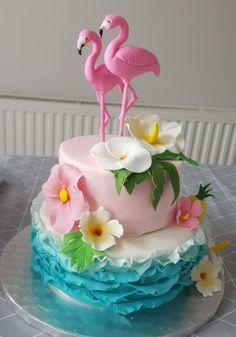 Baby shower cakes 9 cake decorating recipes - Sites new Flamingo Birthday, Luau Birthday, Birthday Cake Girls, Happy Birthday, Birthday Cupcakes, Fondant Cakes, Cupcake Cakes, Animal Cakes, Girl Cakes