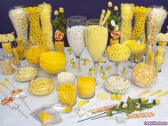 Yellow Candy Buffet Kit: 25 to 50 Guests Gold Candy Buffet, Lolly Buffet, Dessert Buffet, Candy Table, Dessert Bars, Candy Buffet Tables, Dessert Tables, Bar A Bonbon, Yellow Candy
