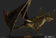 Total War: Warhammer- Forest Dragon by Matthew Davis Warhammer Wood Elves, Warhammer Art, Warhammer Fantasy, Fantasy Races, Fantasy Armor, Knight Models, Legendary Dragons, Fantasy Concept Art, Total War