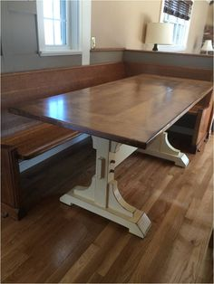 Double Pedestal 6' Farmhouse Table - like this tabletop the best (though won't finish the bottom in white). Description from pinterest.com. I searched for this on bing.com/images