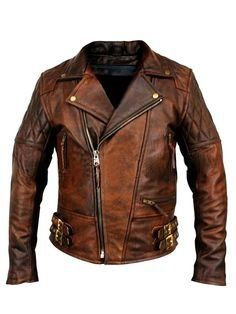 Biker Vintage Motorcycle Cafe Racer Brown Distressed Men's Classic Leather Jacket (XS)