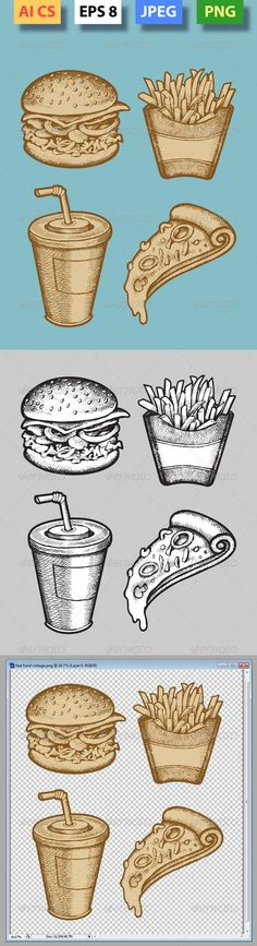 Fast Food Hand Drawn #GraphicRiver Vintage, black and white fast food drawing. ZIP included : AI CS, EPS (vector file, you can use any size you want without loss quality). Fully editable. Use Adobe Illustrator 8 or higer to edit or change color. JPEG high resolution 4000×4766, and PNG high resolution transparent background. Created: 26March13 GraphicsFilesIncluded: TransparentPNG #JPGImage #VectorEPS #AIIllustrator Layered: No MinimumAdobeCSVersion: