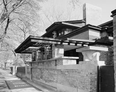 The Frank Lloyd Wright Home & Studio, Oak Park, Illinois -  Frank Lloyd Wright purchased the property & built the home in 1889 with a $5,000 loan from his employer Louis Sullivan. The original 1889 structure was quite small. The home was extensively remodeled in 1895, when among other changes the kitchen was enlarged & converted to a dining room, the upstairs nursery was expanded & converted for use as Catherine's dayroom...