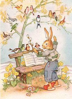 Easter - C. Baron Easter Illustration, Children's Book Illustration, Easter Art, Easter Crafts, Vintage Easter, Vintage Holiday, Vintage Cards, Vintage Postcards, Easter Bunny Pictures