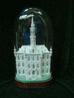 Building model under glass.