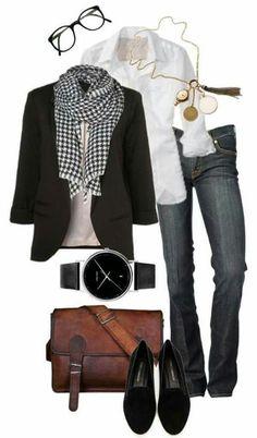 Calça jeans preta camisa branca blazer preto echarpe xadrez p&b