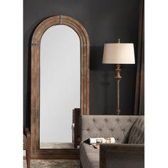 One Allium Way Sasha Wooden Rustic Beveled Full Length Mirror Wood Framed Mirror, Oval Mirror, Beveled Mirror, Wall Mirrors, Floor Mirrors, Wooden Arch, Dressing Mirror, Sunburst Mirror, New Wall