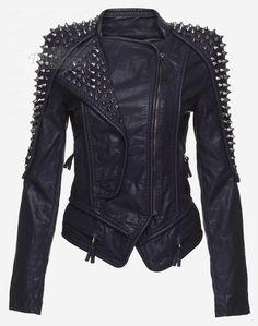 Tbdress.com offers high quality TBdress Design Cool Black Rivet Stand Neck Women Jacket Jackets unit price of $ 56.79.