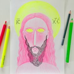neon pencil drawing sketch drawings pencils
