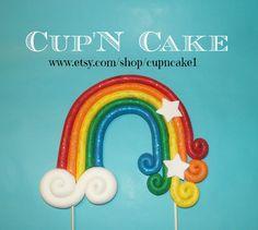 Rainbow fondant cake topper on Etsy, $36.99 Cute Rainbow design!