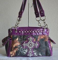 Purple western mossy oak purses | ... -PURPLE-CAMO-MOSSY-OAK-CAMOUFLAGE-CROSS-RHINESTONE-SATCHEL-PURSE-BAG